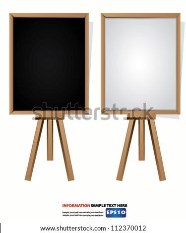 Blank blackboard and whiteboard,Vector - stock vector