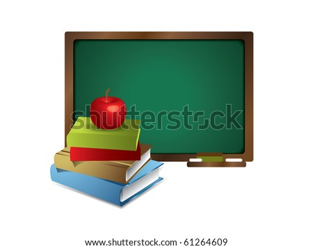 Blank blackboard with books and apple - stock vector