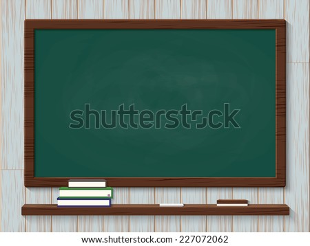 Blank blackboard with chalks and eraser on wood background - stock vector
