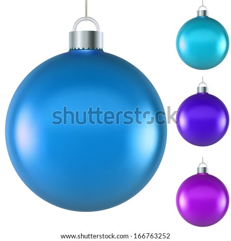 Blank blue Christmas ball isolated on white background. - stock vector