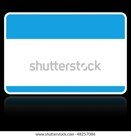 Blank blue name tag sticker with reflection on black background - stock vector