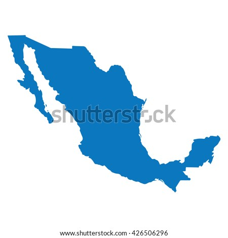 Blank Blue similar Mexico map isolated on white background. American country. Vector template for website, design, cover, infographics. Graph illustration. - stock vector