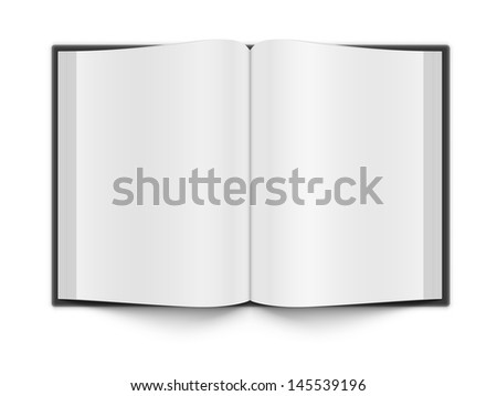 Blank book pages on white with a shadow. Fully transparent. Any background can be used.