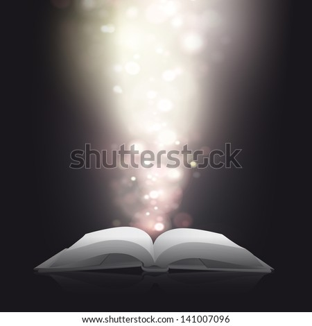 Blank book with blurred lights. Vector design.
