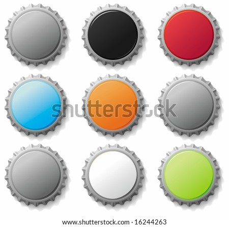Blank bottle caps 3 - vector set. To see similar, please VISIT MY GALLERY. - stock vector