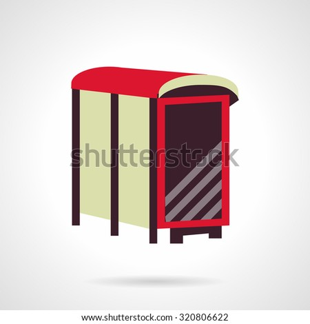 Blank brown advertising billboard on a bus stop. Flat style vector icon. Outdoors advertising sample. Elements of web design for business and website. - stock vector