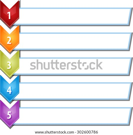 blank business strategy concept infographic chevron list diagram illustration five 5 steps - stock vector