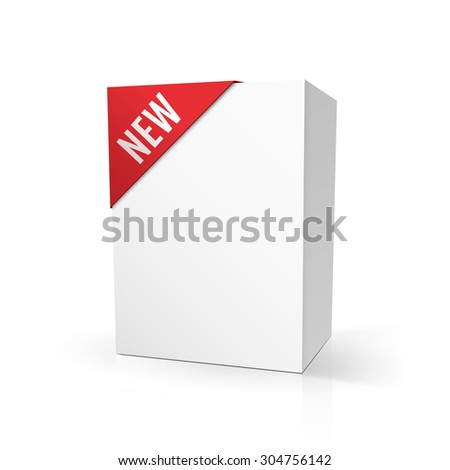 """Blank cardboard package mock up with red """"NEW"""" label, isolated on white. Vector illustration, eps10. - stock vector"""