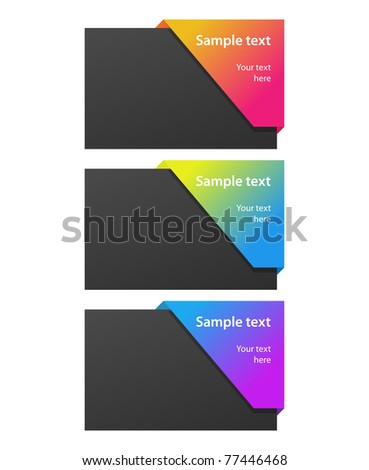 blank cards with colorful tags - stock vector