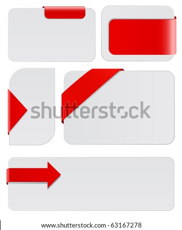 blank cards with red tags - stock vector