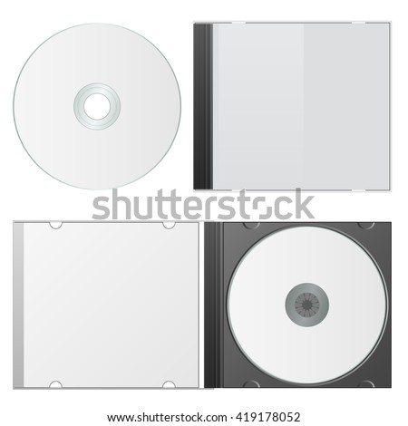 Blank Case and Disk. Cd Packaging Template. Vector Illustration. - stock vector