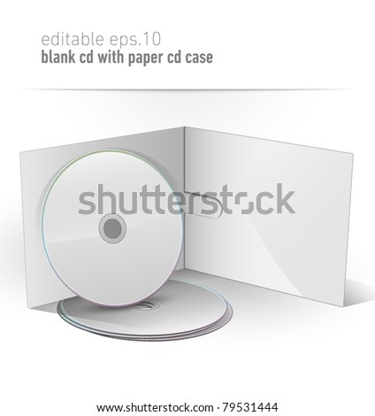 Blank CD DVD in paper case | editable eps. 10 vector - stock vector