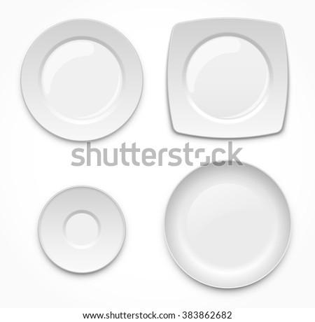 Blank ceramic plates set - stock vector