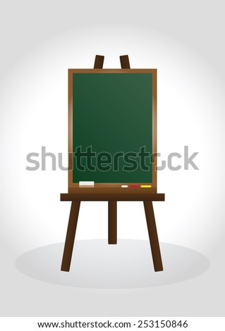 Blank chalk board and wood frame for write and teach - stock vector