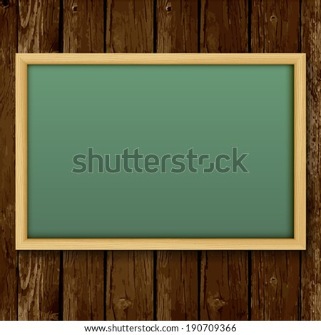 Blank chalk green board in a wood  frame for write and teach on wood background.    Vector illustration.