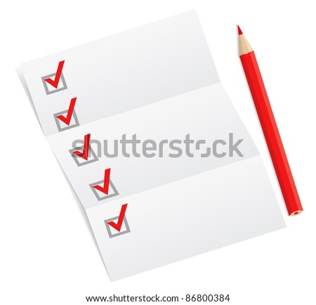 Blank checklist with a red pencil, vector illustration - stock vector