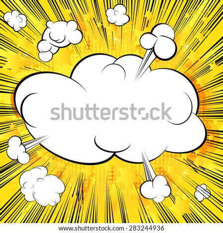 Blank cloud, retro style comic book background.