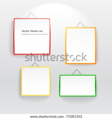 Blank color boards different sizes on wall. You can place your message on them - stock vector