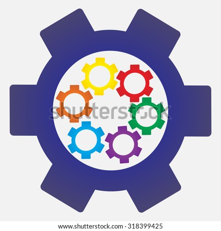 Blank Color Gear Cog Icon On Stock Vector 318399425 - Shutterstock