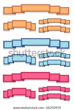 Blank Colored Banner Ribbons - stock vector