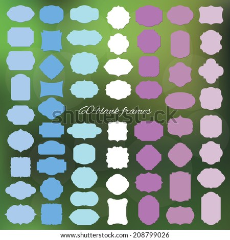 Blank colored frame and label big set on typographic mesh background.  - stock vector