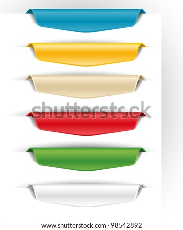 blank colored paper tags for the web - stock vector