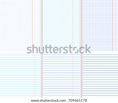 blank copy book sheets lined squaredのベクター画像素材 709665178