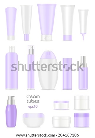 Blank cosmetic cream tubes on white background.Light violet, white and silver colors. Place for your text. Vector - stock vector