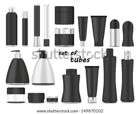 Blank cosmetic tubes  on white background. Black and silver colors. Place for your text. Vector - stock vector