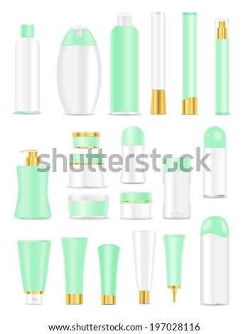 Blank cosmetic tubes  on white background. Green, white and golden colors. Place for your text. Vector - stock vector