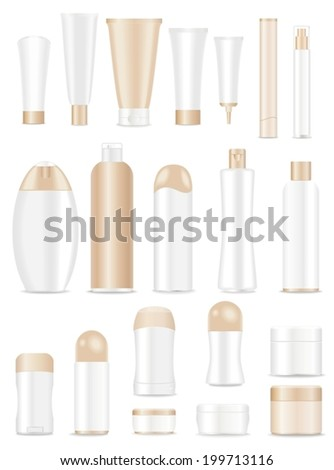 Blank cosmetic tubes  on white background. White and light brown colors. Place for your text. Vector - stock vector