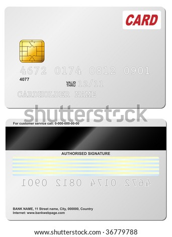 Blank credit card vector template. Front and back view. - stock vector
