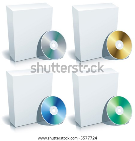 Blank 3d box with DVD, vector - stock vector