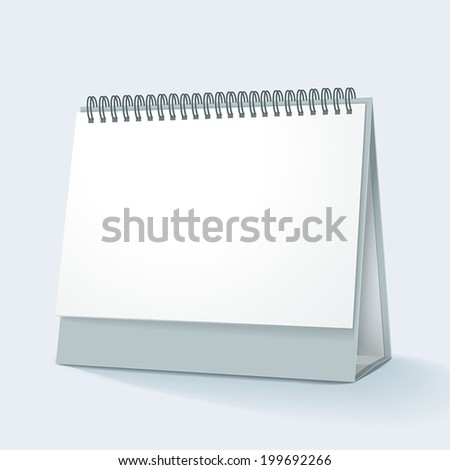 blank desktop calendar with soft shadow isolated on white background - stock vector