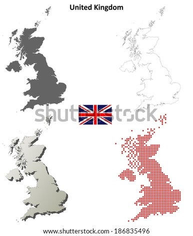 Blank detailed contour maps of the United Kingdom - vector version - stock vector