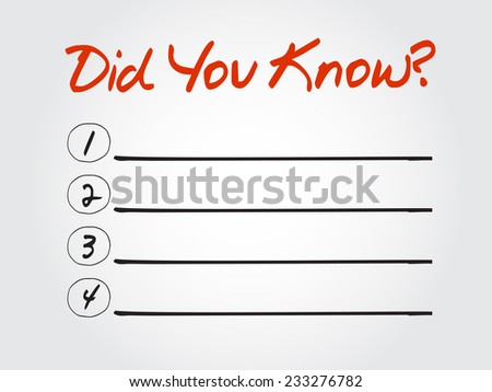 Blank Did You Know? list, vector concept background - stock vector