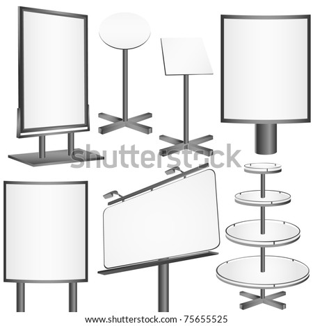 Blank display, billboard Vector set. - stock vector