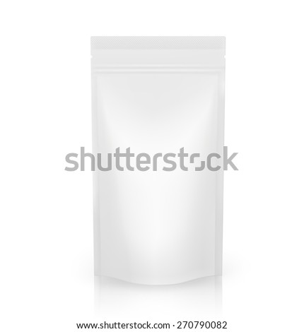 Blank doypack packing isolated on white background. Vector illustration - stock vector