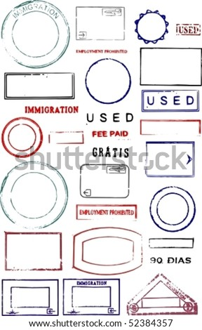 Blank editable vector graphic passport stamps - stock vector