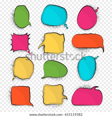 Blank empty colorful speech bubbles on tranparent background.