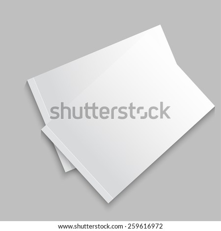 Blank empty magazine, album or book template lying on a gray background. vector