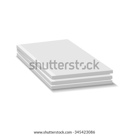 Blank Empty Magazine Or Paperback Book Pile. Three Journals Template. Mock Up For Your Design. White Background. Vector.