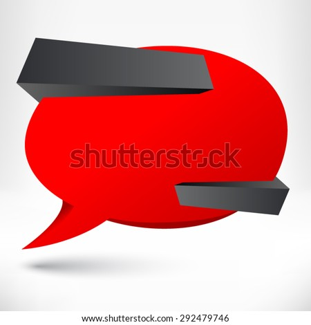 Blank empty speech bubble. Origami banner, background. - stock vector