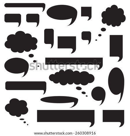 Blank empty speech bubbles, icon set, black isolated on white background, vector illustration. - stock vector