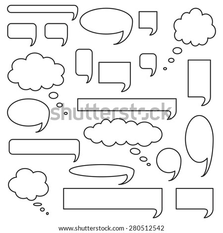 Blank empty speech bubbles, icon set, outlined isolated on white background, vector illustration. - stock vector