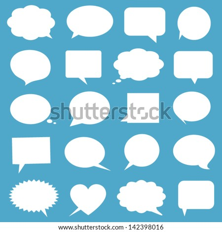 Blank empty white speech bubbles - stock vector