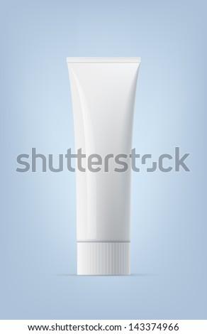 Blank empty white toothpaste tube. Realistic eps10 vector. - stock vector