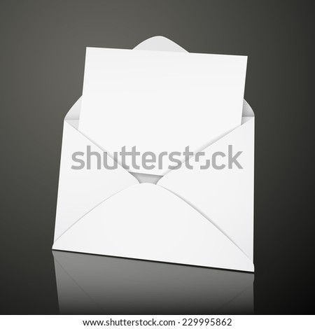 blank envelope and card template isolated over black background - stock vector