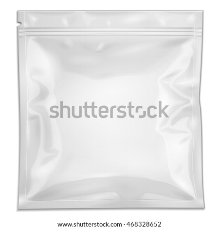 Blank Filled Retort Foil Pouch Bag Packaging With Zipper. For Medicine Drugs Or Food Product. Illustration Isolated On White Background. Mock Up Template Ready For Your Design. Vector EPS10
