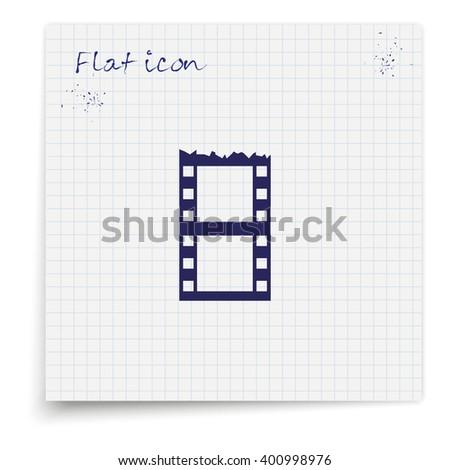 Blank film strip. Celluloid icon. - stock vector